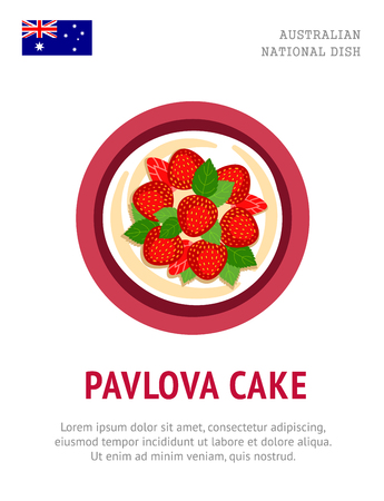 Pavlova cake. Traditional Australian dish. Illustration