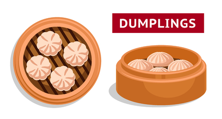 Dumplings. Chinese national dish. Vector flat illustration.