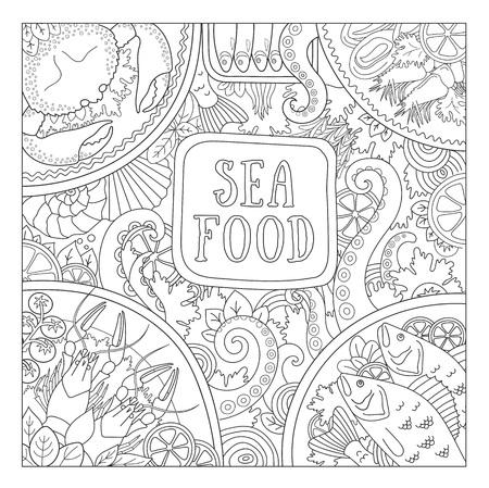 Sea food. Design concept for shop, restaurant, template for labels, banner, signboard, menu. Vector outline hand-drawn illustration.