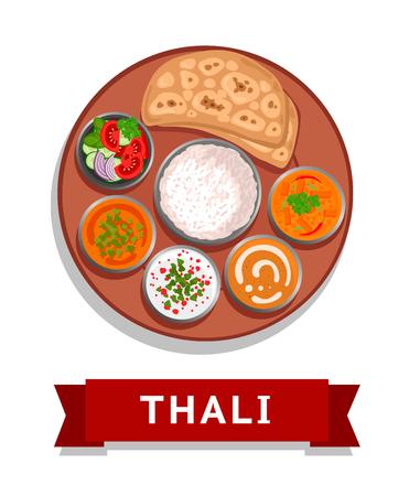 Thali. Indian national dish. Vector flat illustration. Illustration