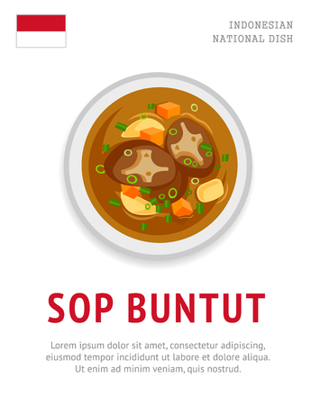 Sop buntut. National indonesian dish. View from above. Vector flat illustration.