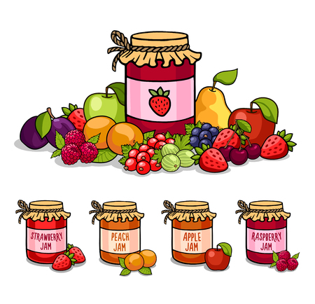 Jar of jam surrounded by fruits and berries. Strawberry, peach, raspberry, apple.Vector illustration.