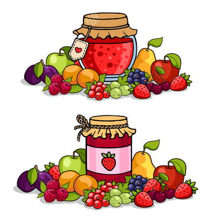 Jar of jam surrounded by fruits and berries. Apple, pear, cherry, strawberry, peach, raspberry, plum, currant and gooseberry. Colored vector illustration.