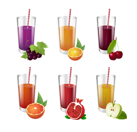 Collection of realistic glasses with tasty juice and straw. Vector realistic illustration. Illusztráció