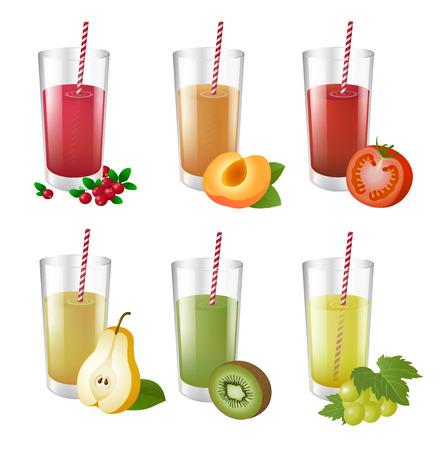 Set of realistic glasses with tasty juice and straw. Vector realistic illustration. Illusztráció