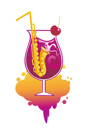 A Cocktail with straws in the form of saxophone. Conceptual design for music bar, restaurant, karaoke, party. Vector illustration. Illustration