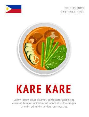 Kare kare. National filipino dish. View from above. Vector flat illustration.