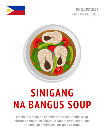 Sinigang na bangus soup. National filipino dish. View from above. Vector flat illustration.