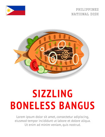 Sizzling boneless bangus. Traditional filipino dish. View from above. Vector flat illustration.