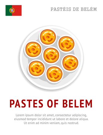 Pastel de nata. Pastel de Belém. Egg tart. National portuguese dessert. View from above. Vector flat illustration.
