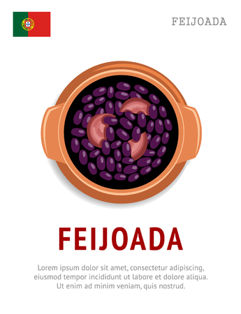 Feijoada. National Portugal dish. View from above. Vector flat illustration.