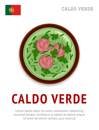Caldo verde. National portuguese dish. View from above. Vector flat illustration. Stock Illustratie