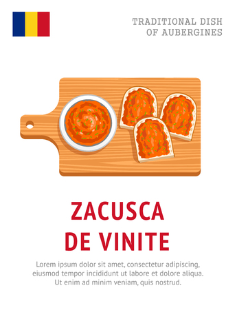 Zacusca de vinete. Traditional dish of aubergines. View from above. Vector flat illustration.