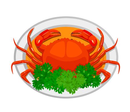 Chili crab. Traditional national dish. Vector flat illustration.