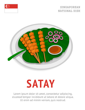 Satay. National singaporean dish. View from above. Vector flat illustration.