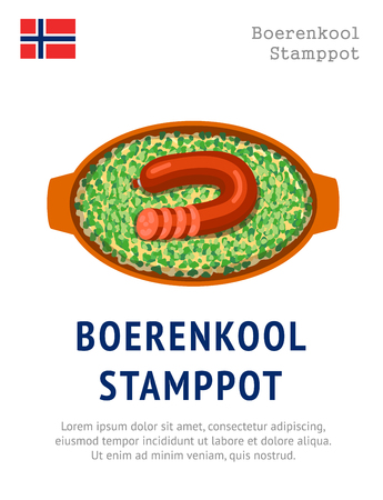 Boerenkool stamppot. Traditional norwegian dish. View from above. Vector flat illustration.
