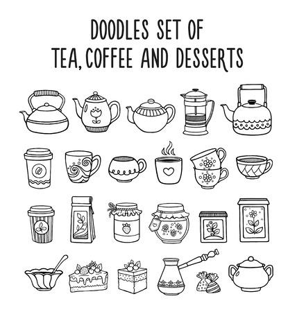 Doodles set of tea, coffee, desserts, sweets. Hand-drawn sketches.Vector illustration. Illusztráció