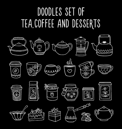 Doodles set of tea, coffee, dessert on a black background. Linear vector illustration. Hand-drawn style.