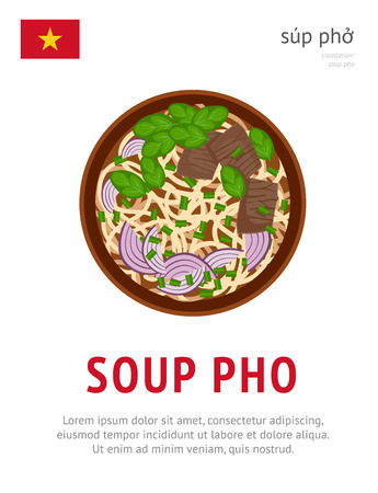 Soup Pho. National vietnamese dish. View from above. Vector flat illustration.