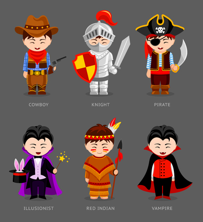 Cowboy, knight, pirate, red indian, vampire, illusionist. Cute kids in carnival costumes.