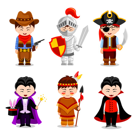 Boys in costumes on white background. Cowboy, vampire, knight, Indian, pirate, illusionist. Children's party. Vector flat illustration. Vettoriali