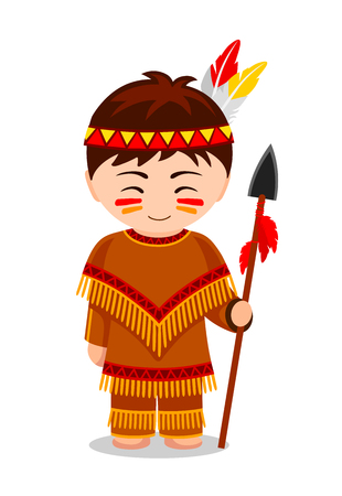 Cartoon Indian. Cute little kid in costume. Vector flat illustration. Vettoriali