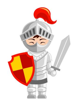 Cartoon knight. Cute little kid in costume. Vector flat illustration.