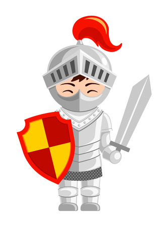 Cartoon knight. Cute little kid in costume. Vector flat illustration.