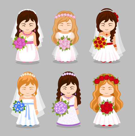 Set of beautiful brides with wedding bouquet. Cute cartoon characters. Vector flat illustration. Illustration
