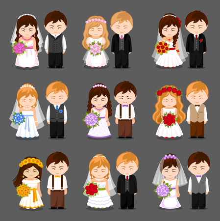 Bride and groom. Big set of newlywed couple. Wedding cartoon characters. Vector flat illustration.