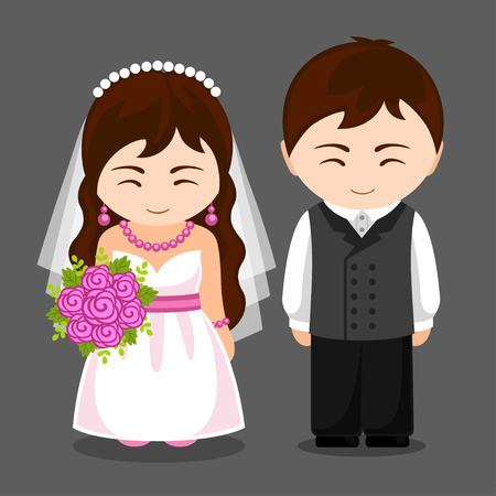 Pretty newlywed couple. Bride and groom. Wedding. Vector flat illustration. 矢量图像