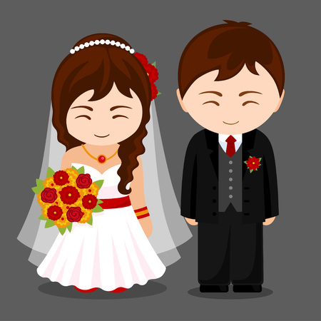 Newlyweds. Bride and groom. Beautiful girl with a wedding bouquet. Cute cartoon characters. Vector flat illustration.