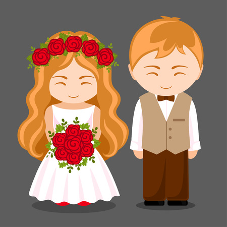 Beautiful newlywed couple. Bride with bouquet of red roses and groom. Wife and husband. Cute cartoon characters. Vector flat illustration.