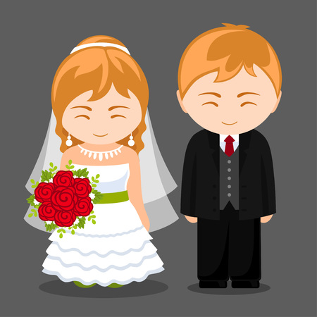 Newlywed couple. Blonde bride and groom. Wife and husband. Wedding. Vector flat illustration.