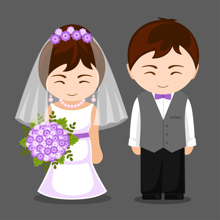 Pretty newlywed couple. Bride and groom. Wedding. Vector flat illustration. Illustration