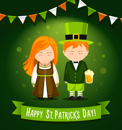 Happy Saint Patrick's Day. Girl and boy with glass of beer on a green background. Card, banner, poster, invitation, print. Vector illustration. Vectores