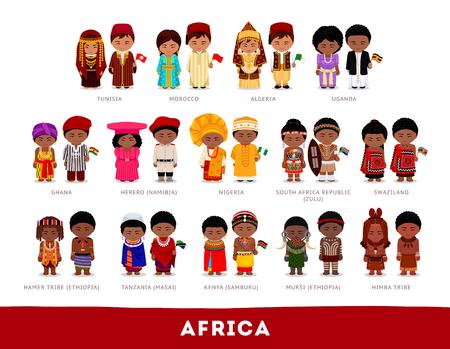 Satz Zeichentrickfilm-Figuren im traditionellen Kostüm Vektorgrafik