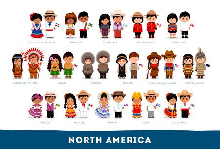 Amerikanen in nationale kleding. Noord Amerika. Set stripfiguren in klederdracht. Schattige mensen. Platte vectorillustraties.