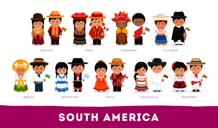 Americans in national clothes. South America. Set of cartoon characters in traditional costume.