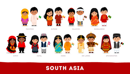 Set of cartoon characters in traditional costume 일러스트