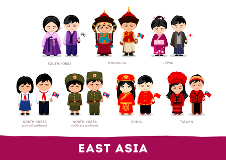 Asians in national clothes. East Asia. Set of cartoon characters in traditional costume. Cute people. Vector flat illustrations.