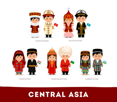 Set of cartoon characters in traditional costume