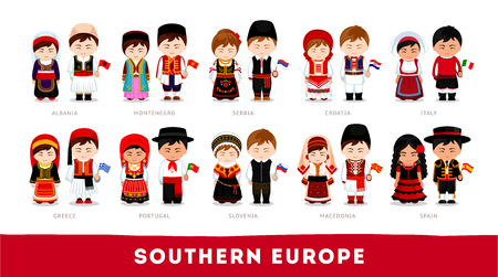 Set of cartoon characters in traditional costume Stock Illustratie