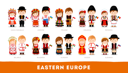 Set of cartoon characters in traditional costume Vectores