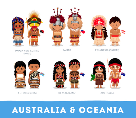 Ludzie w strojach narodowych. Australia i Oceania. Zestaw postaci z kreskówek w tradycyjnych strojach. Płaskie ilustracje wektorowe.