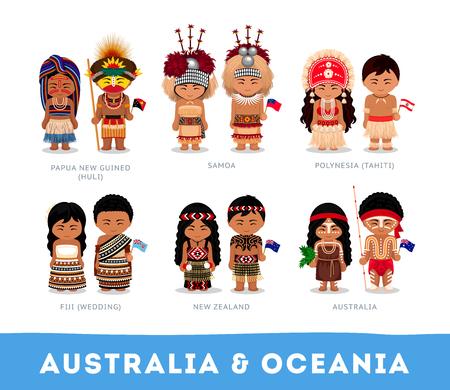 Personas en ropa nacional. Australia y Oceanía. Conjunto de personajes de dibujos animados en traje tradicional. Vector ilustraciones planas.