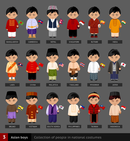 Asian boys in national dress. Set of Asian men dressed in national clothes. Ilustração