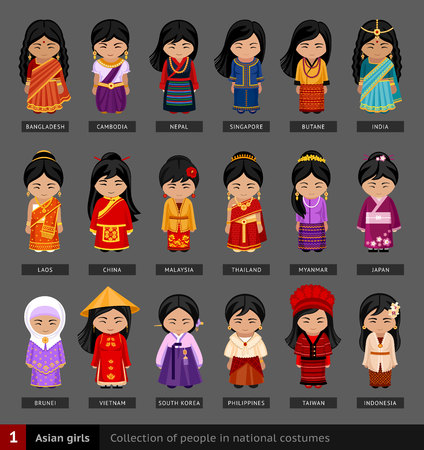 Set of cartoon characters in traditional costume 向量圖像