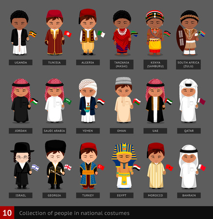 Set of cartoon characters in traditional costume Illustration