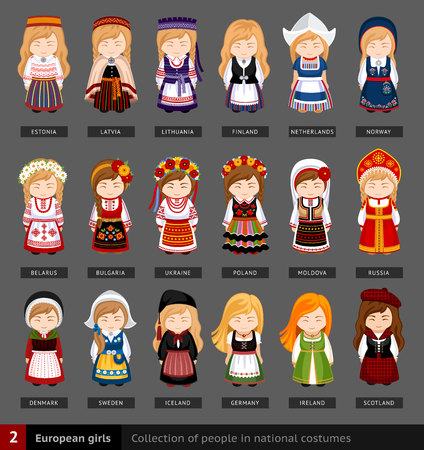 Collection of people in traditional costume